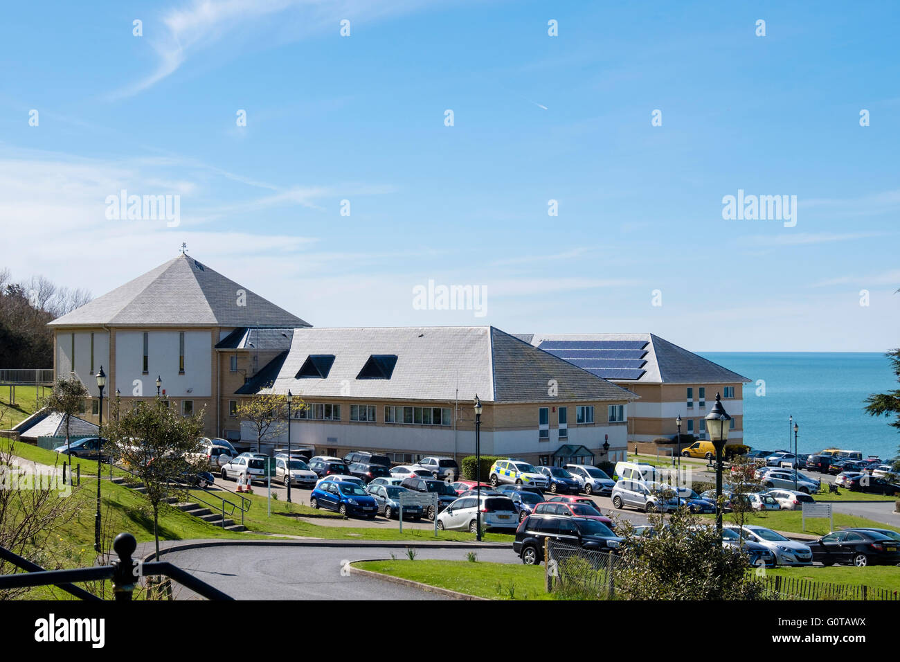Cyngor Sir Ceredigion County Council offices in Penmorfa, Aberaeron, Ceredigion, Mid Wales, UK, Britain - Stock Image