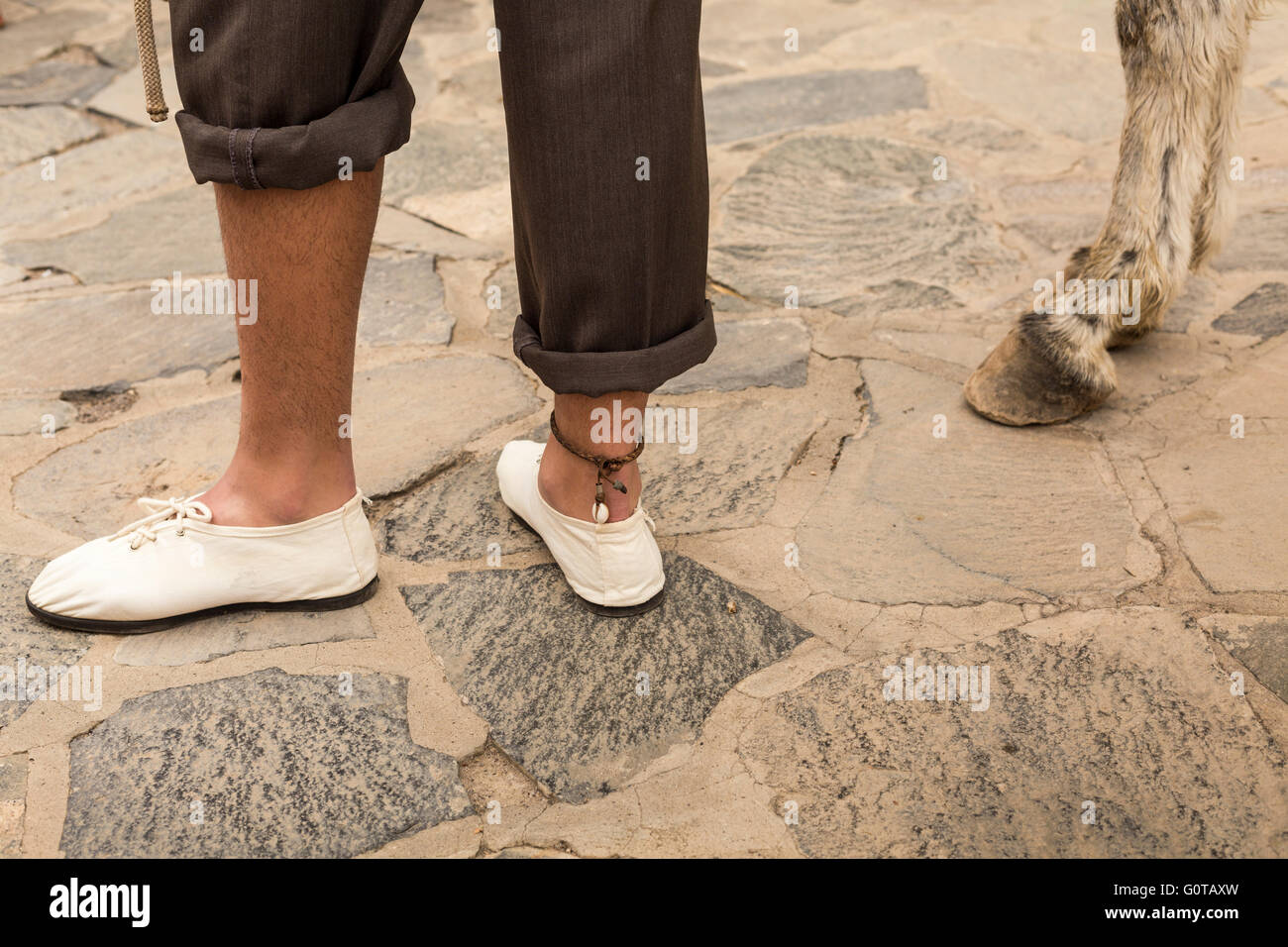 Mans legs and feet with leather anklet next to donkey hooves, Adeje, Tenerife, Canary Islands, Spain. - Stock Image