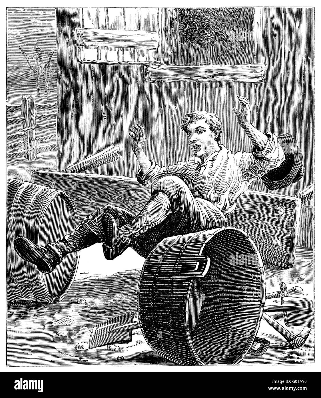 Black and white engraving of a a Victorian or Edwardian man falling over. - Stock Image
