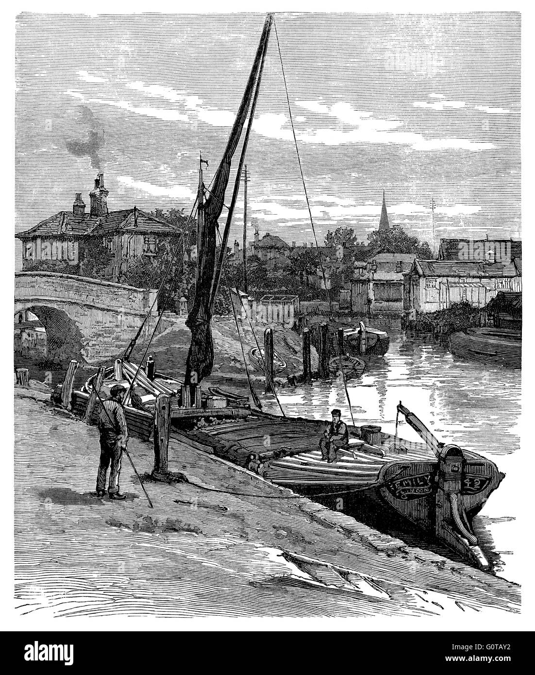 Black and white engraving 'On The Canal At Brentford.' - Stock Image