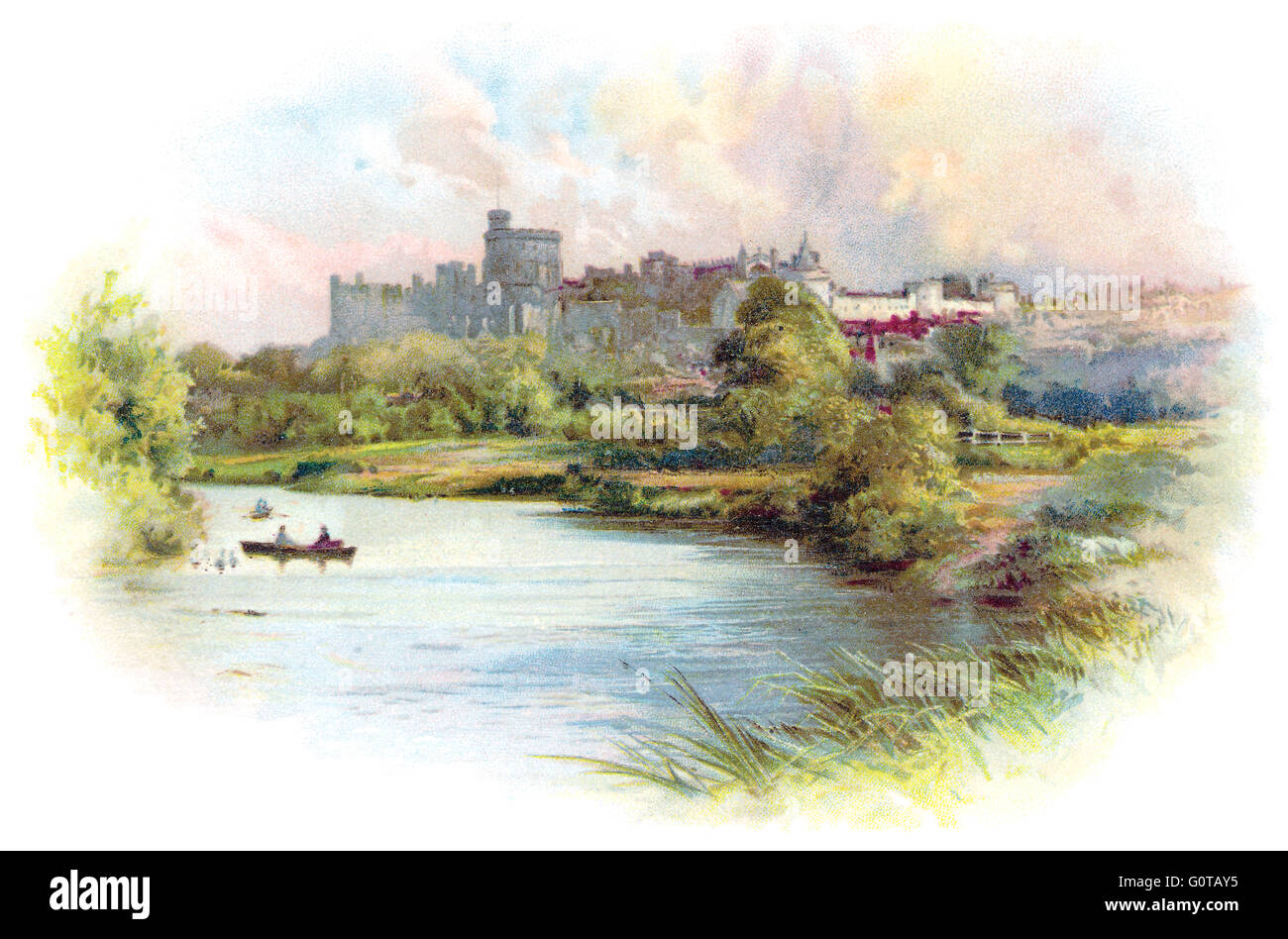 Colour chromolithographic illustration of Windsor Castle and the River Thames, taken from an Edwardian postcard. - Stock Image