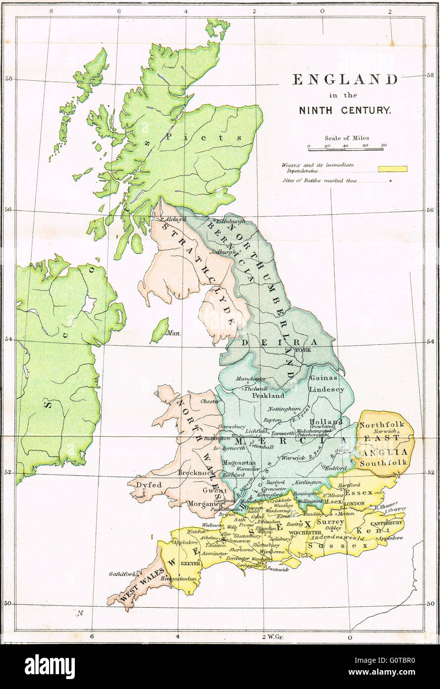 9th Century England Map Map of England in the Ninth Century showing the Anglo Saxon