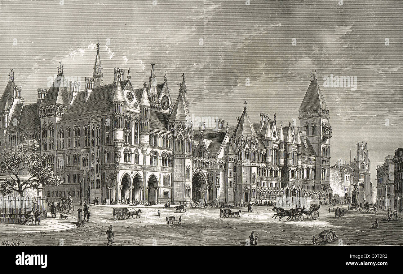 Royal Courts of Justice in the 19th Century Stock Photo