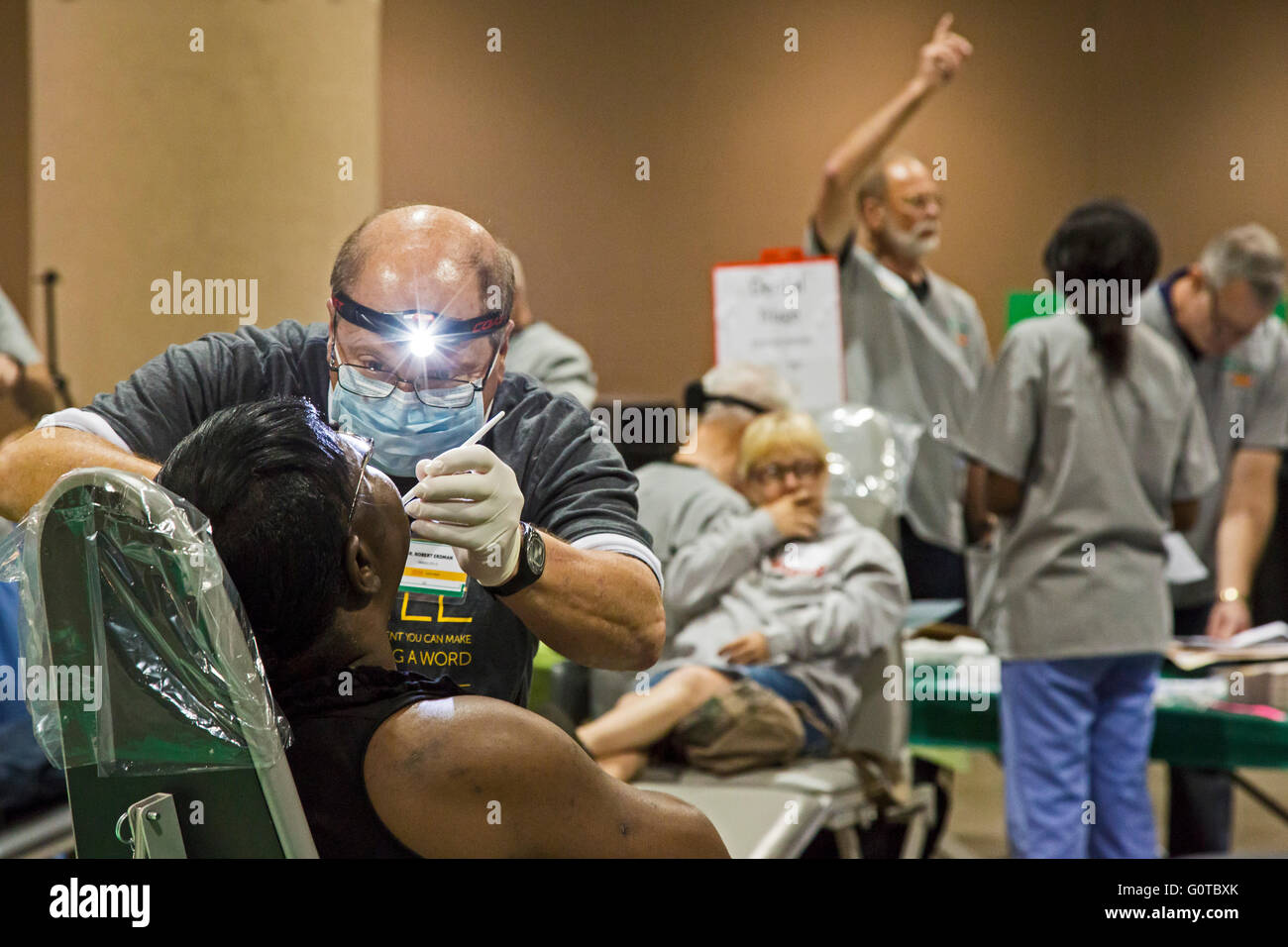 Jacksonville, Florida - A free two-day dental clinic organized by the nonprofit Mission of Mercy treated about 3,000 - Stock Image