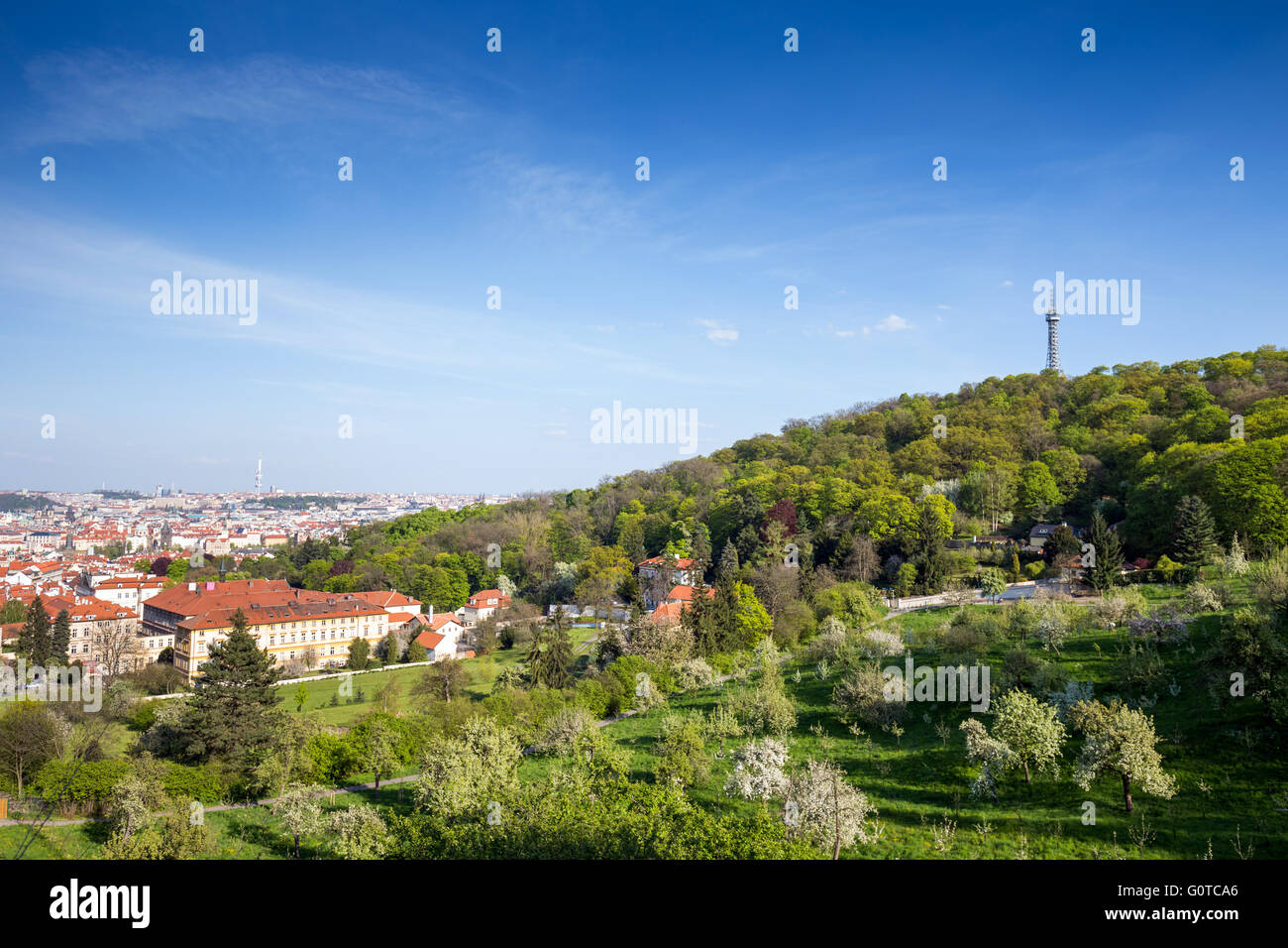 Lookout tower on the Petrin Hill in spring, Prague, Czech republic Stock Photo
