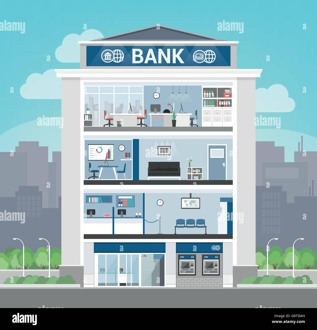 Bank Building Interior With Office Front Desk Waiting Room Entrance And Self Service Atm Banking Finance Concept