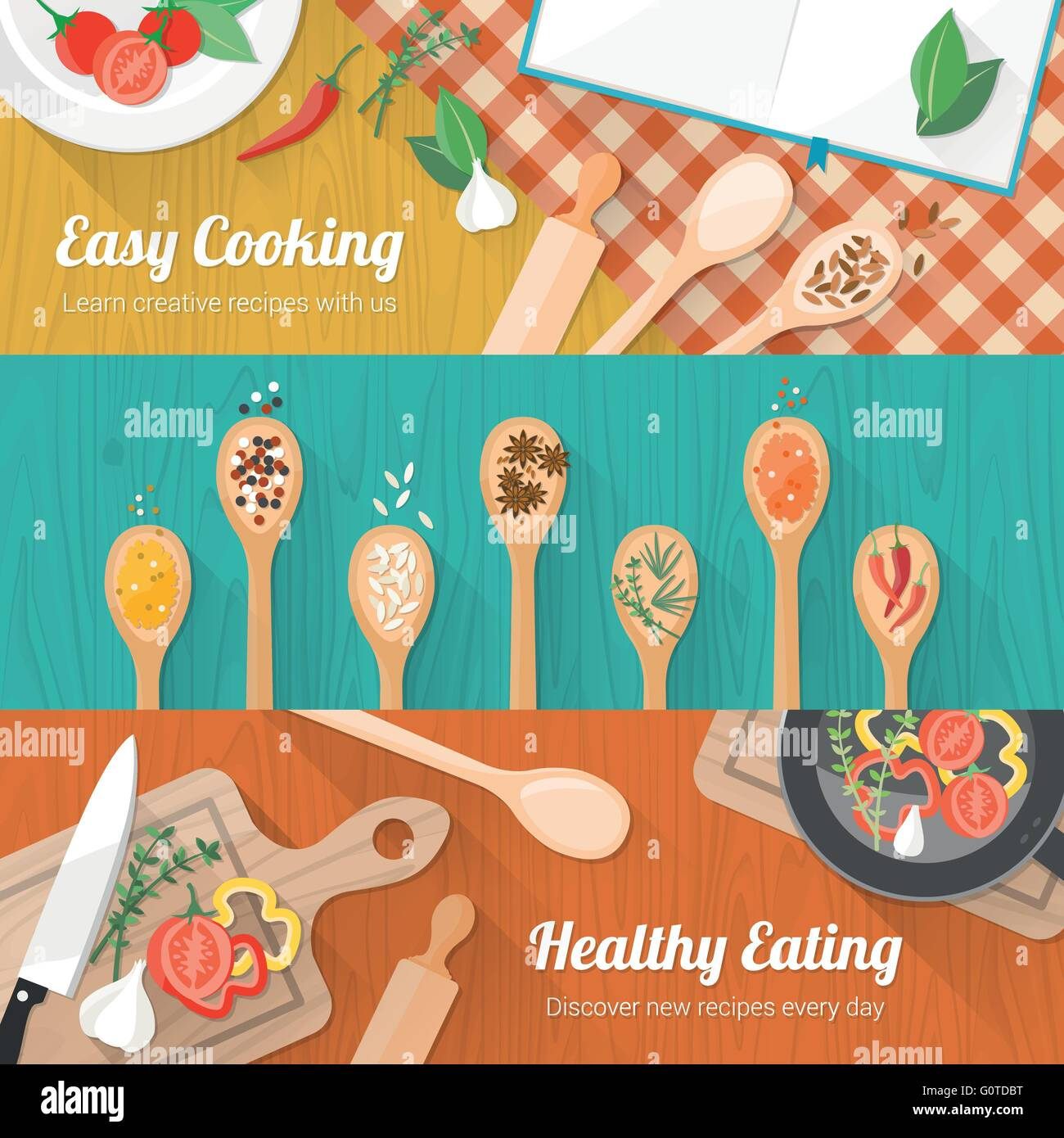 Food and cooking banner set with kitchenware utensils, spices and ...