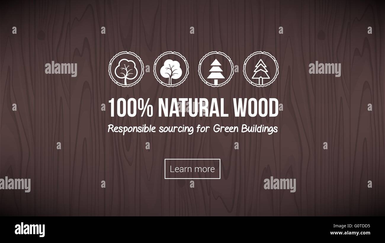 Natural wood banner with textured background and icons set - Stock Vector