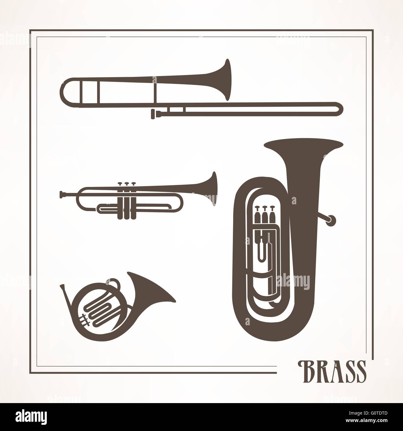 Classical musical brass instruments: trumpets, horn and trombone - Stock Image