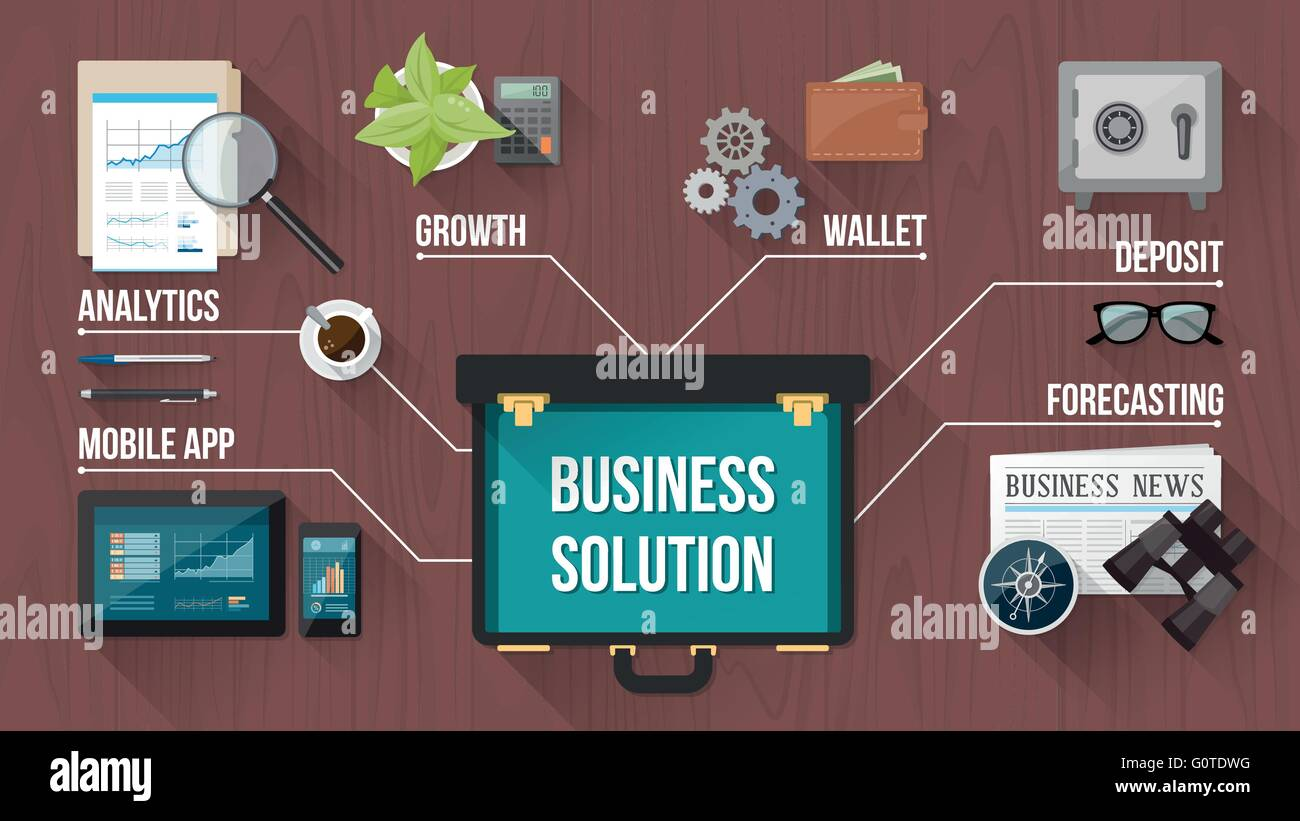 Business, finance and banking concepts with objects and open briefcase on a wooden desktop, top view - Stock Image