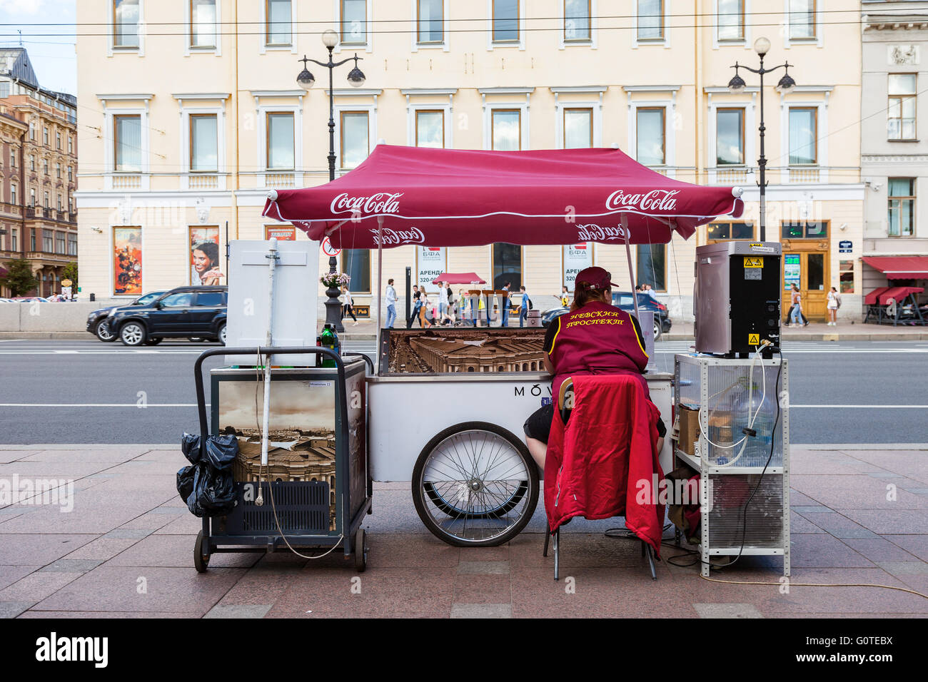 Ice cream sales on Nevsky Prospect in summer day - Stock Image