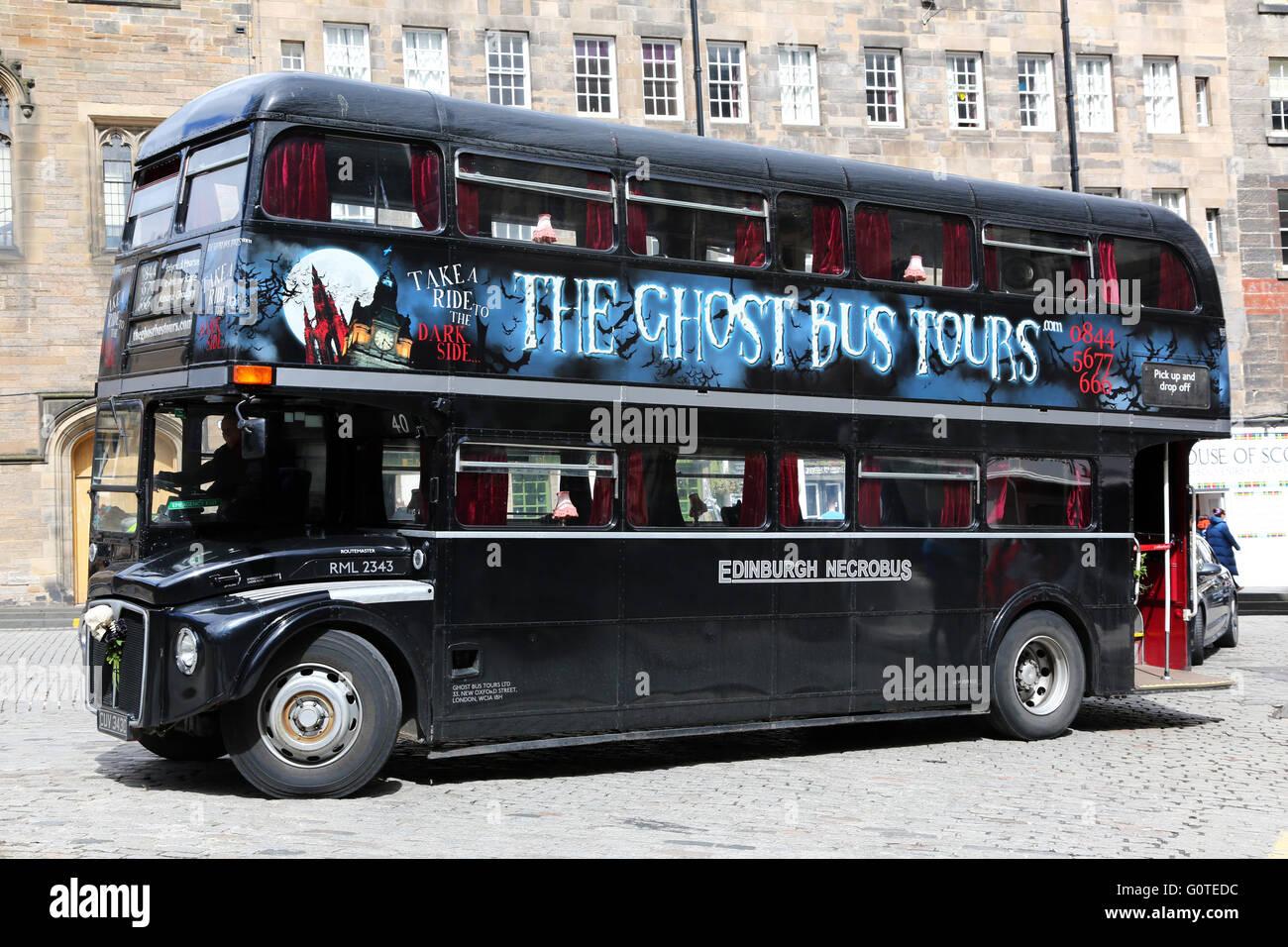Black double decker Ghost Tours Bus in Edinburgh, Scotland, United Kingdom Stock Photo