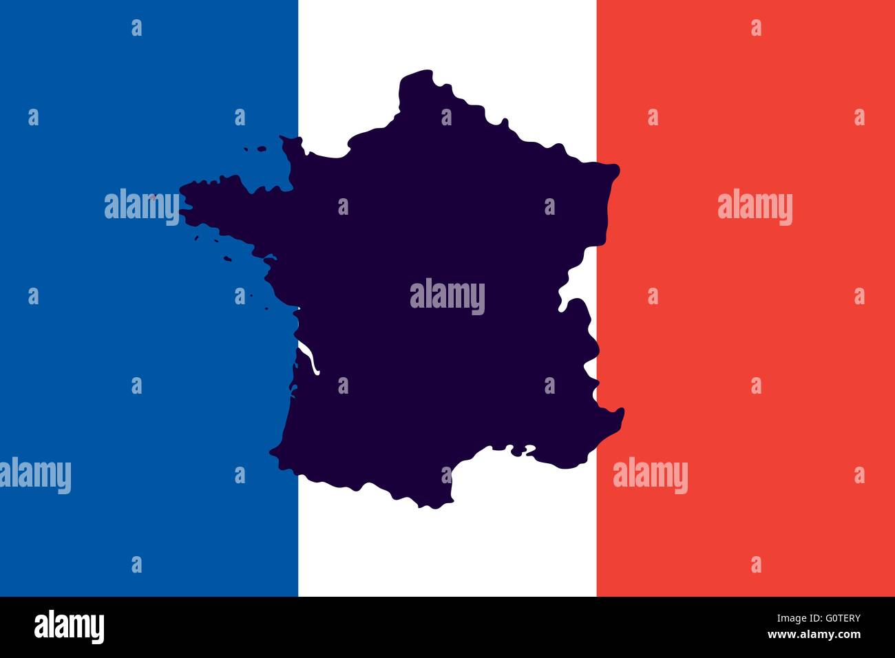 Official national flag of France and the country's geographical - Stock Image
