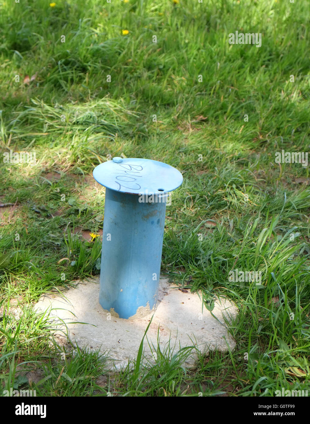 Bore hole survey point or location, April 2016 - Stock Image