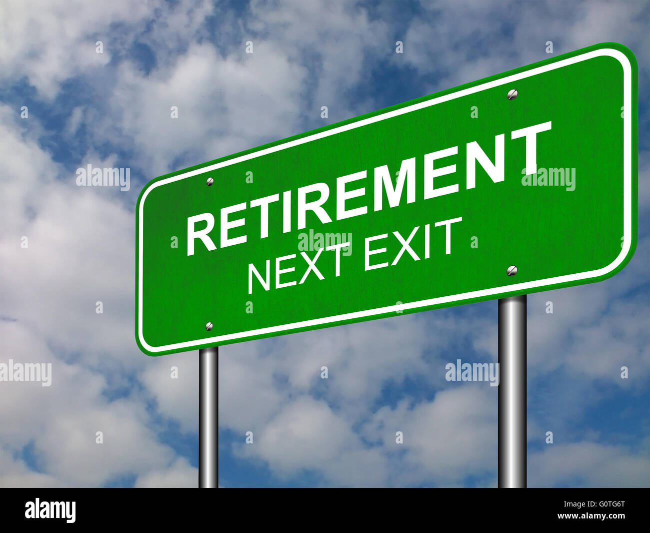 Retirement Road Sign Announcement - Stock Image