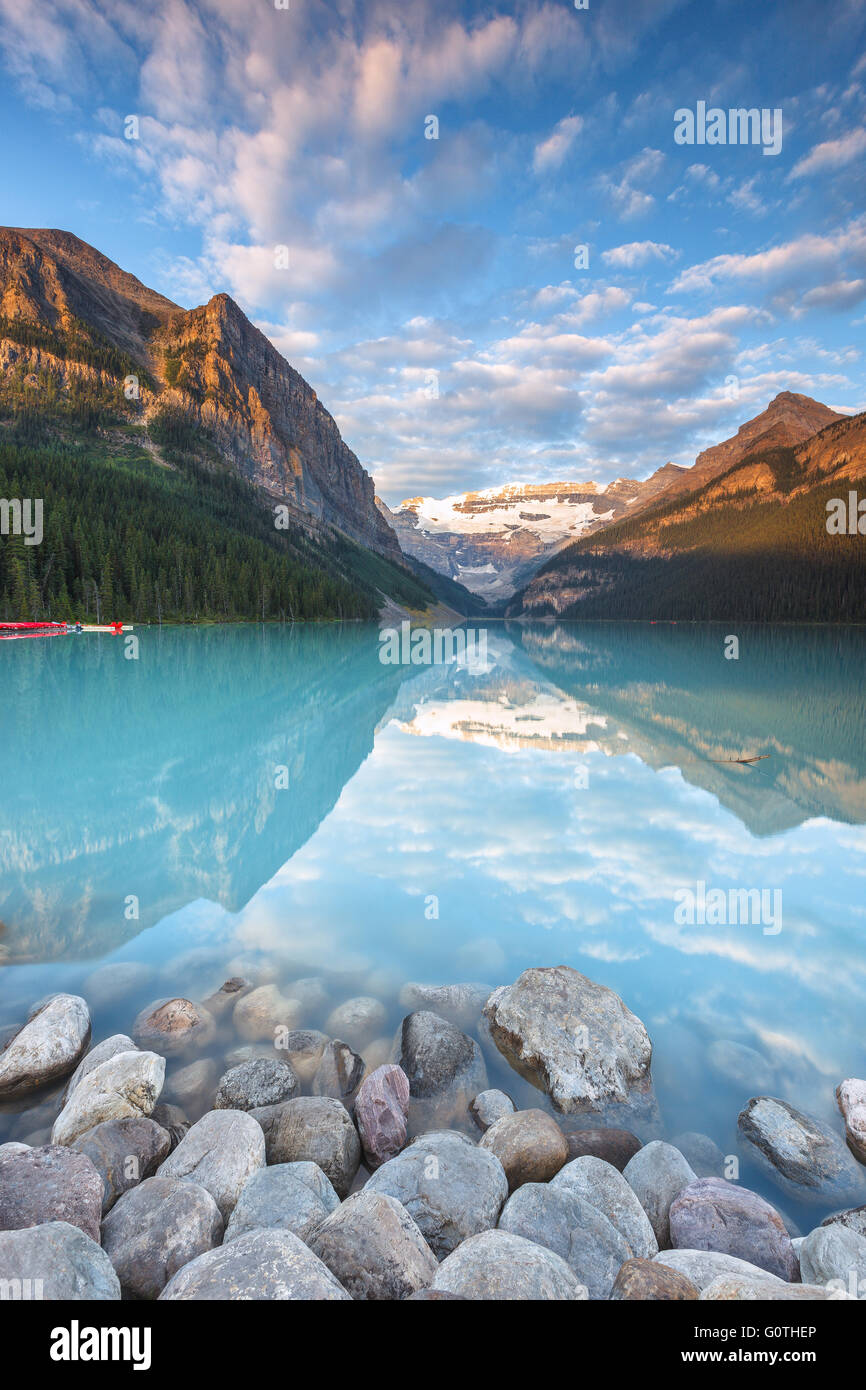 The wonderful Lake Louise, one of the most beautiful spots in the Rockies, by sunrise. Banff National Park, Alberta, - Stock Image
