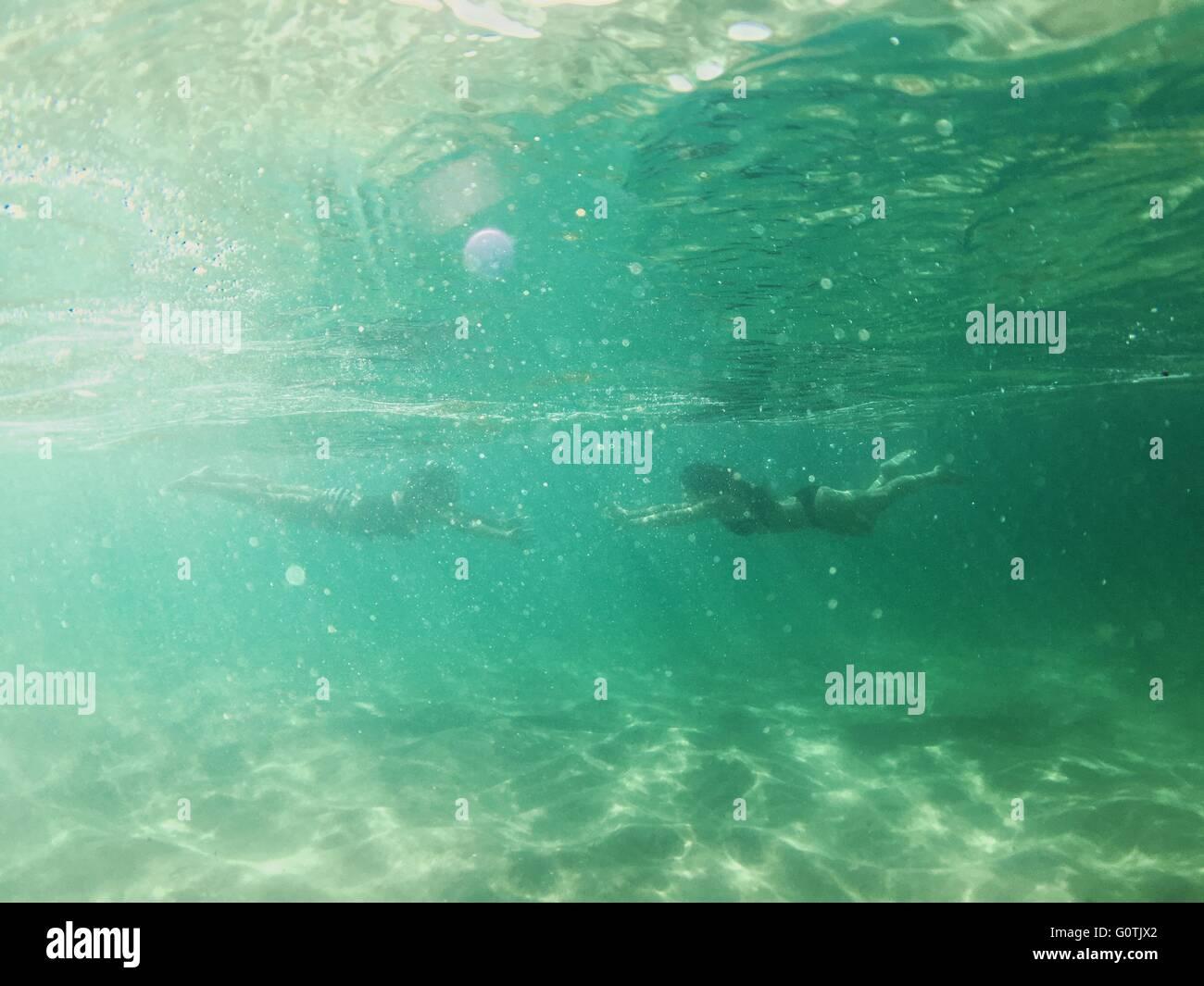 Two women swimming underwater - Stock Image