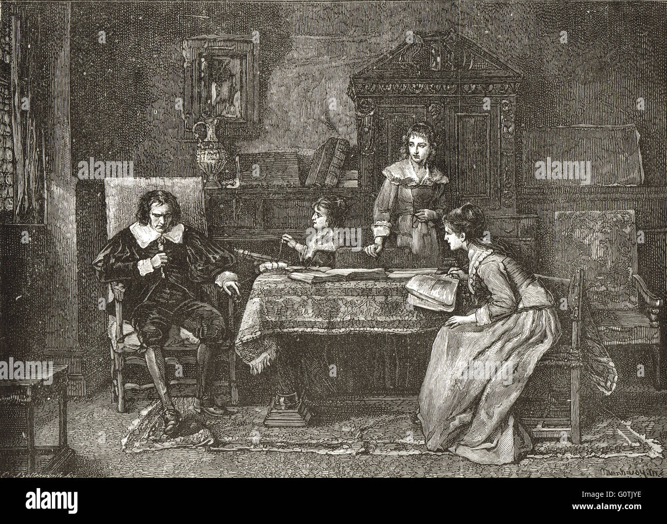 A blind John Milton dictating to his Daughters - Stock Image