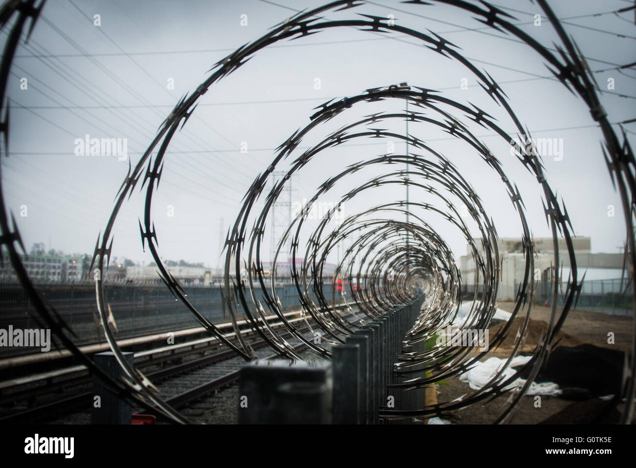 Razor wire in concentric circles on fence - Stock Image