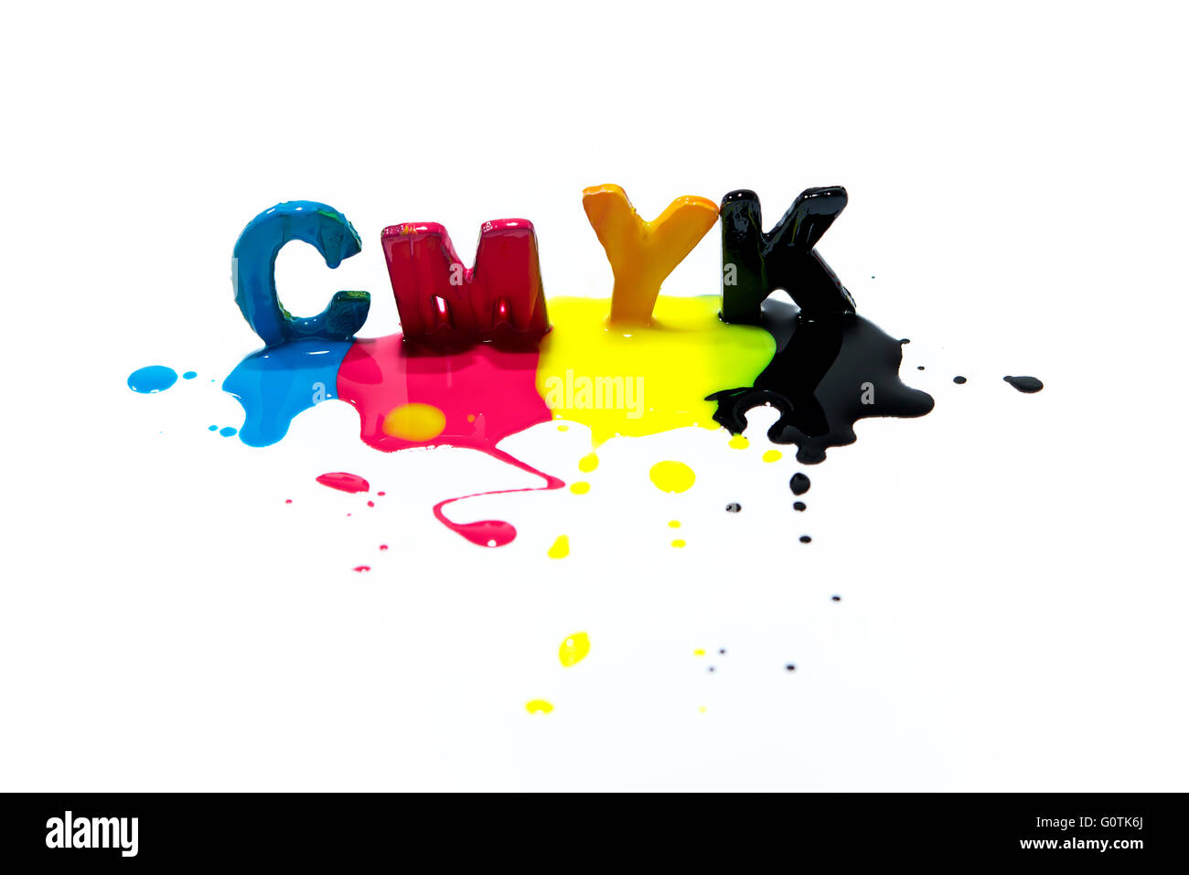 multi-colored CMYK capital letters - Stock Image