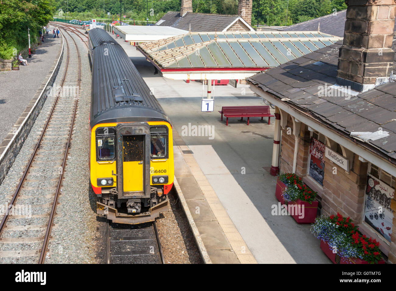 East Midlands Trains DMU (diesel multiple unit) train ready to depart from Matlock Railway Station, Derbyshire, - Stock Image
