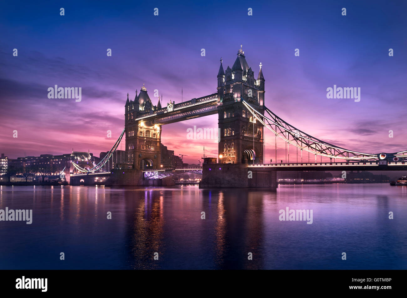 Famous Tower Bridge in the morning, London, England Stock Photo
