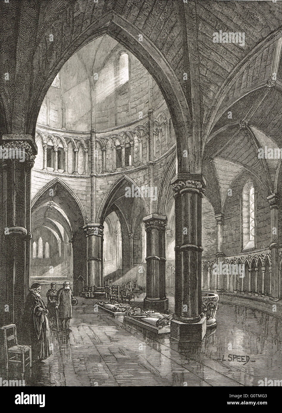 Interior of Temple Church, London in the 19th Century - Stock Image