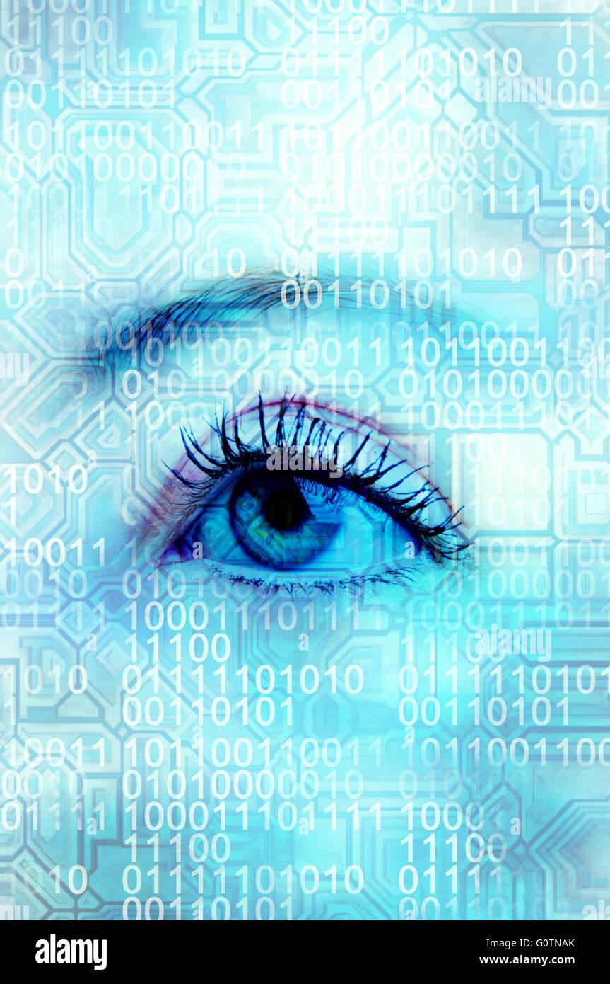 woman eye and binary digits - Stock Image