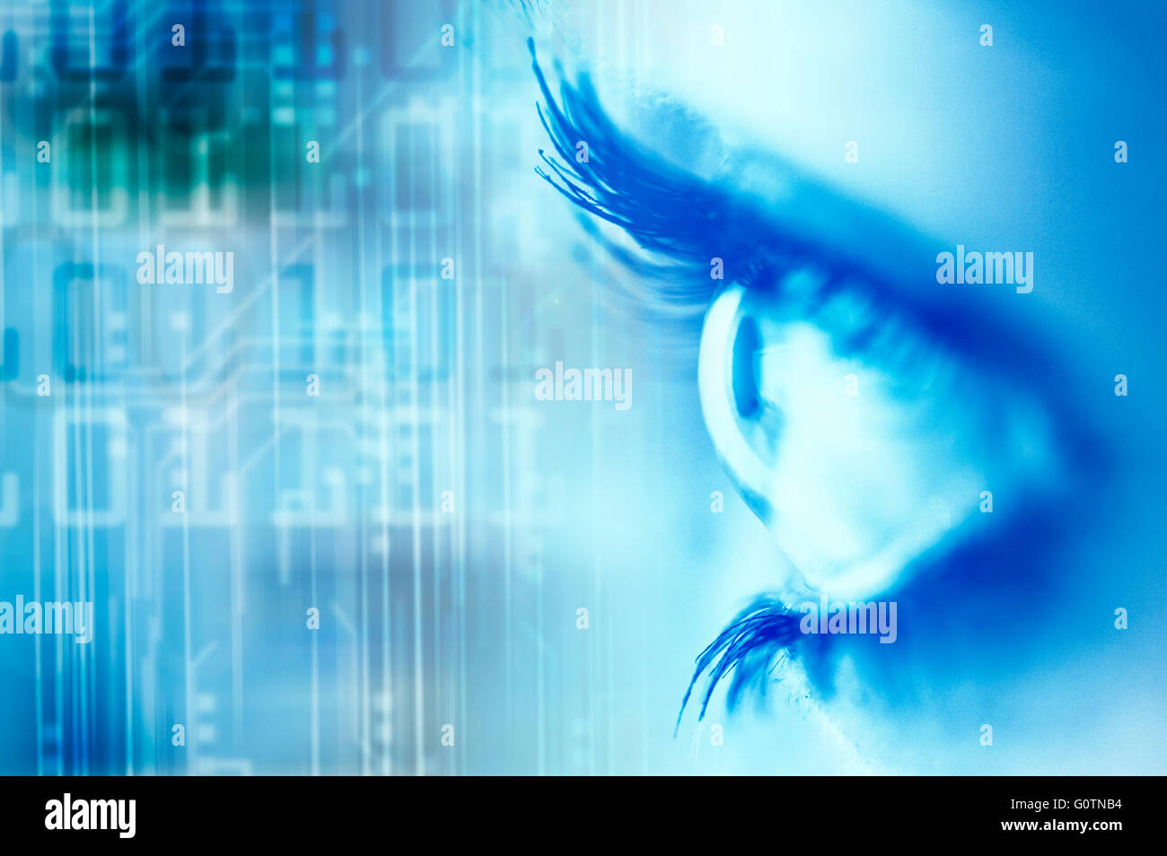 woman blue eye with binary digits background - Stock Image