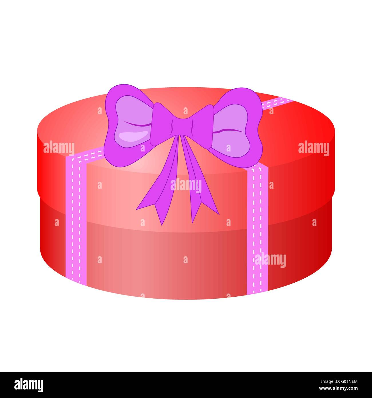Round red gift box with bow. Vector EPS10 - Stock Image