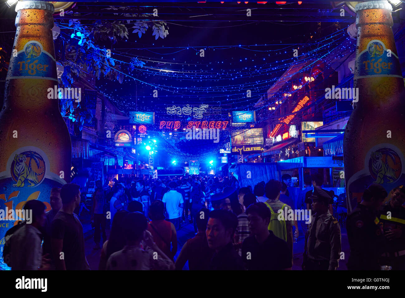 New Year's Eve Party in Pub Street, Siem Reap, Cambodia - Stock Image