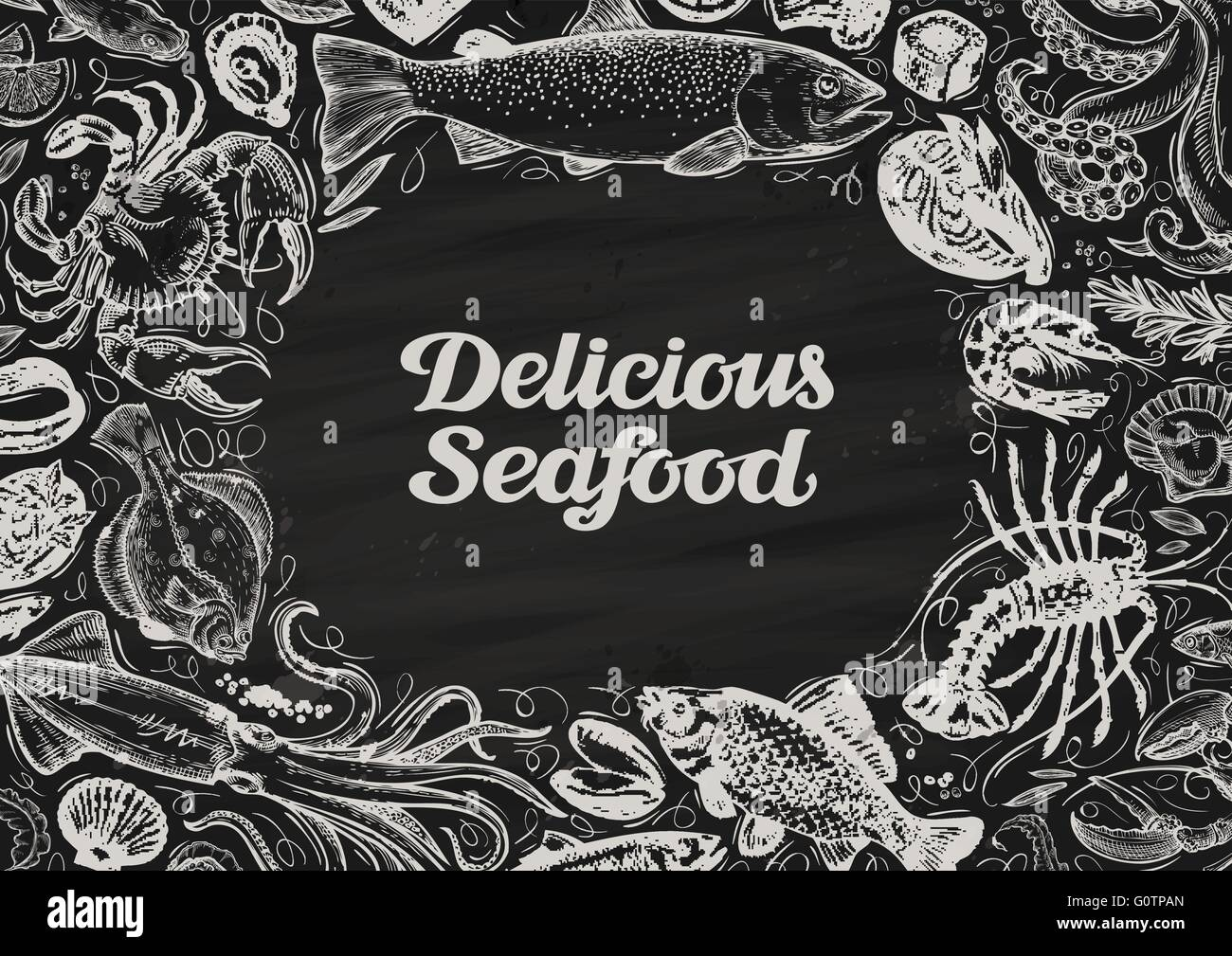 Delicious Seafood Hand Drawn Food On Chalkboard Template Design Menu Restaurant Or Cafe