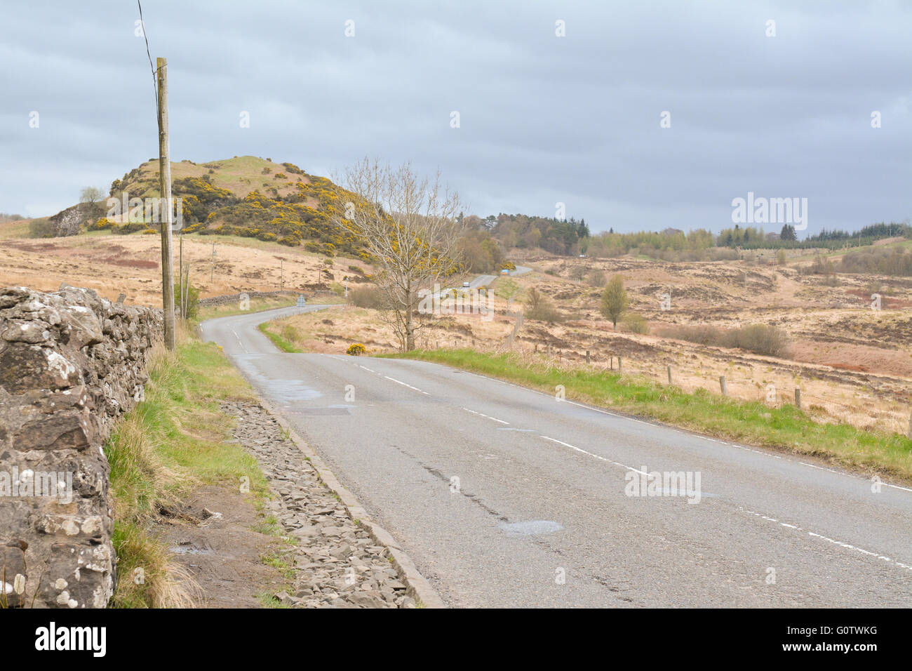 Notoriously dangerous road in Scotland - Stockiemuir Road (A809) between Bearsden and Croftamie, Glasgow, East Dunbartonshire, - Stock Image