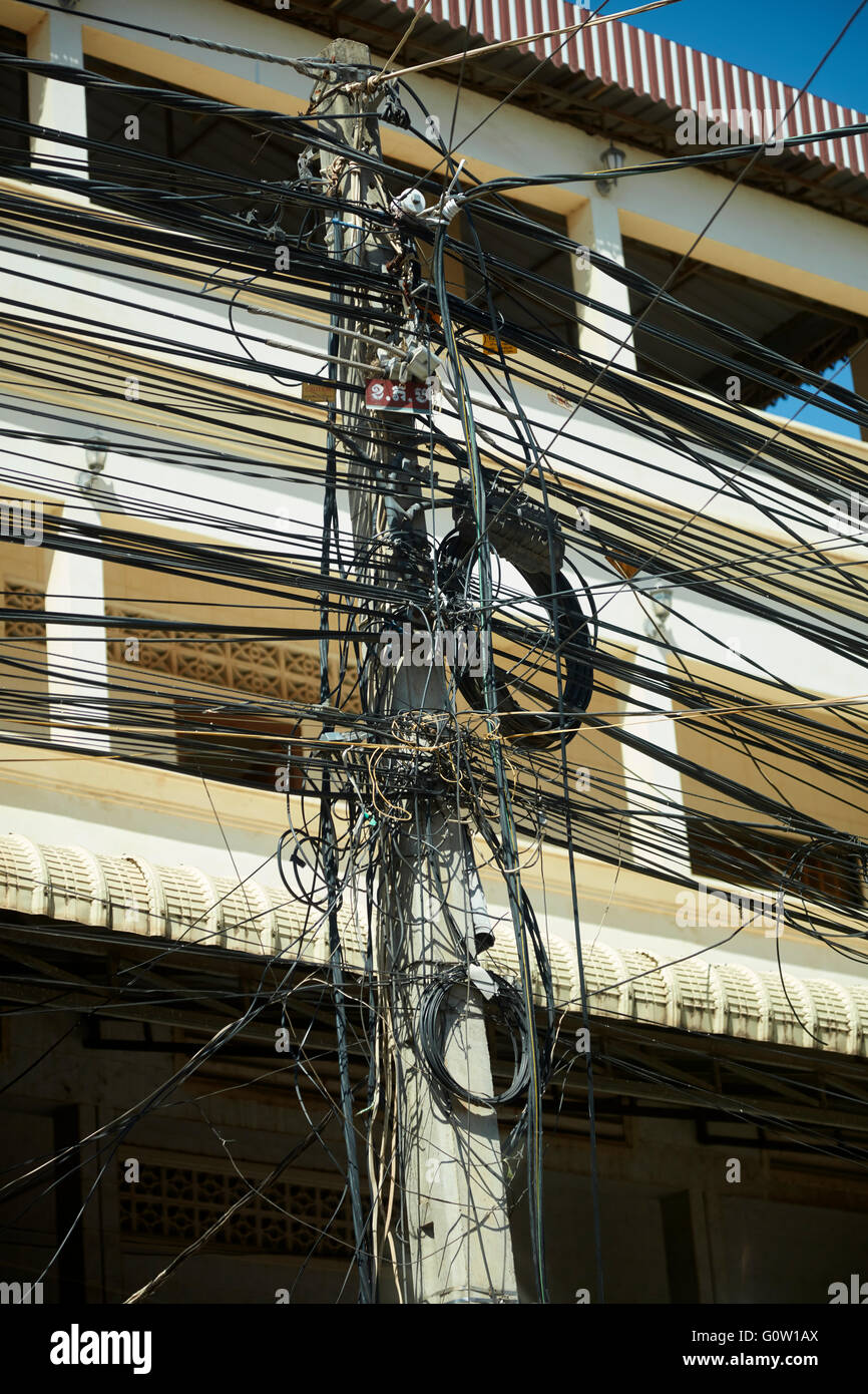 Tangle of Power Wires, Siem Reap, Cambodia - Stock Image