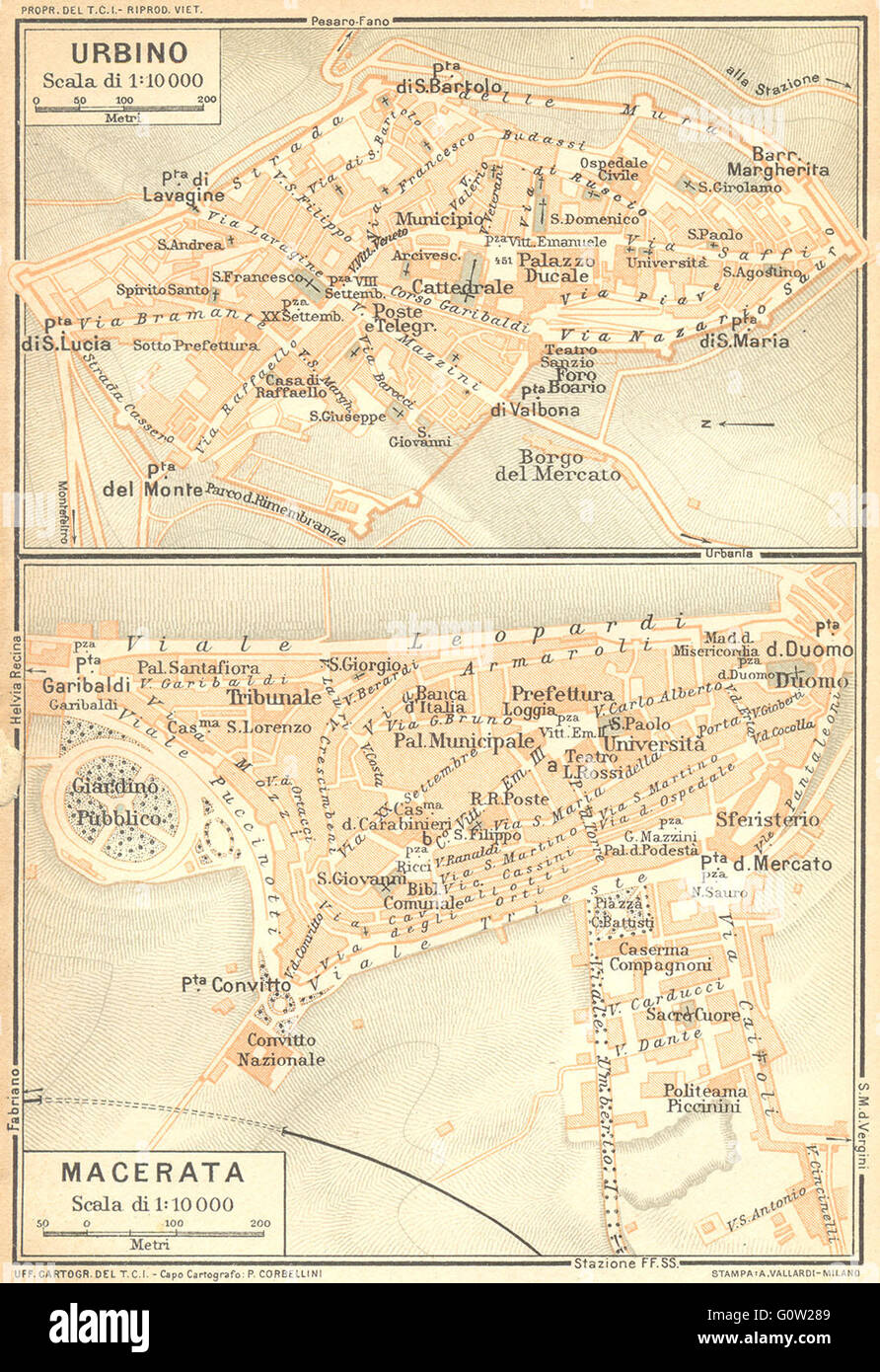 Italy Urbino Macerata Town Plans 1924 Vintage Map Stock Photo