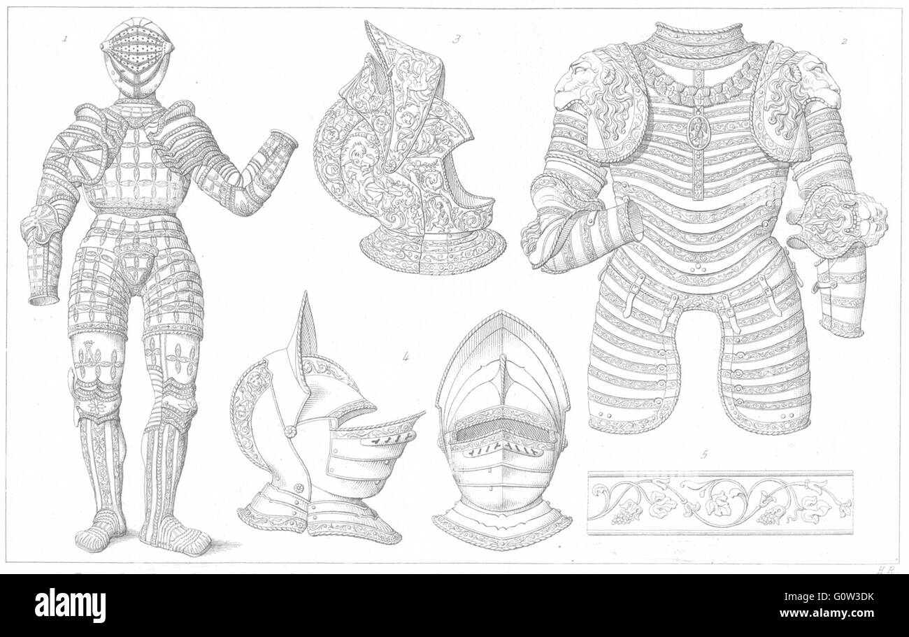 16C ARMOUR: Harness, Francois 1st light Cavalry; Armet cisele Bavaria, 1875 - Stock Image