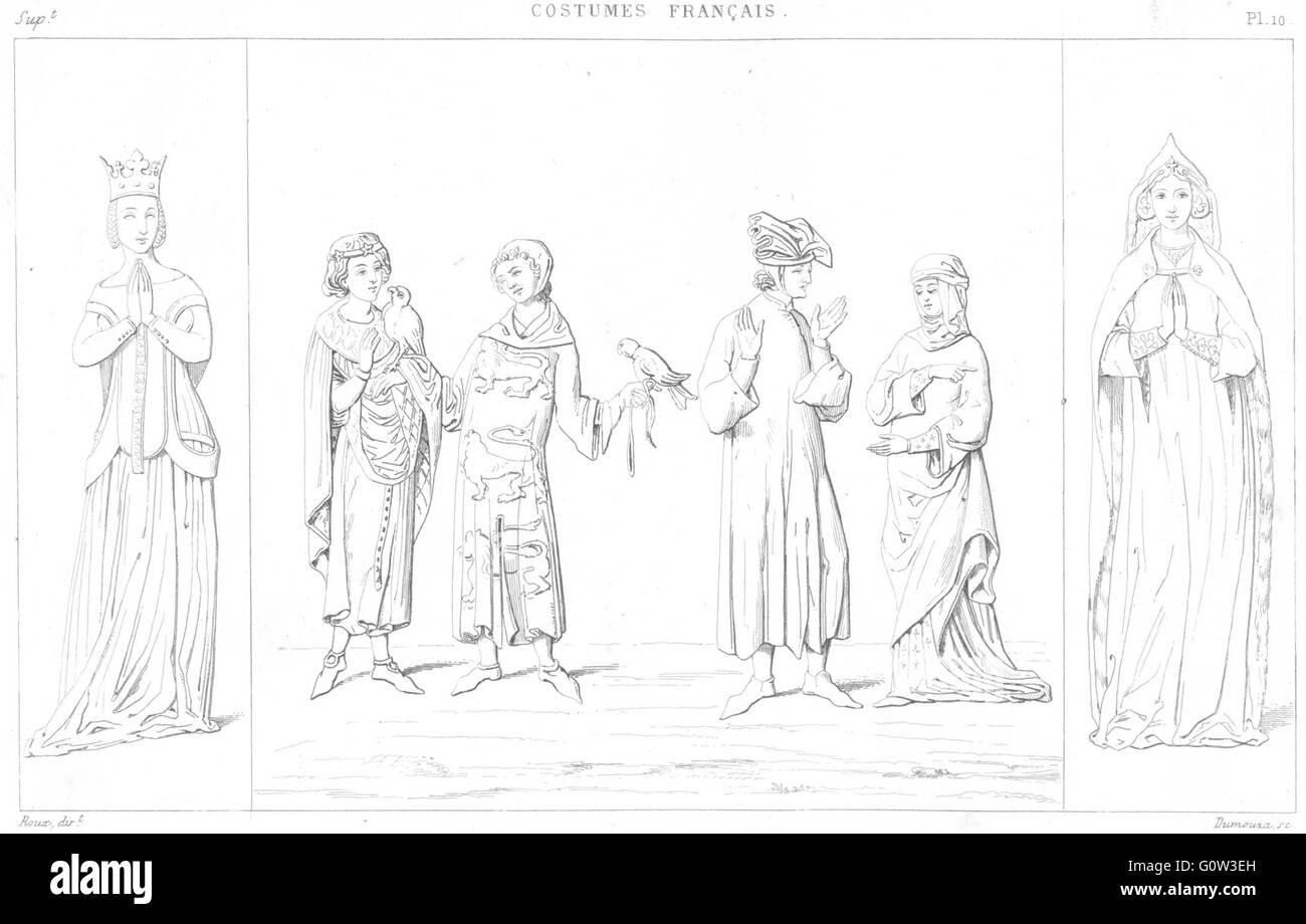 JEANNE BOURBON: Philippe Bel; Bourgeois-Dame Veuve 1380; Bourgeoise 1333, 1875 - Stock Image