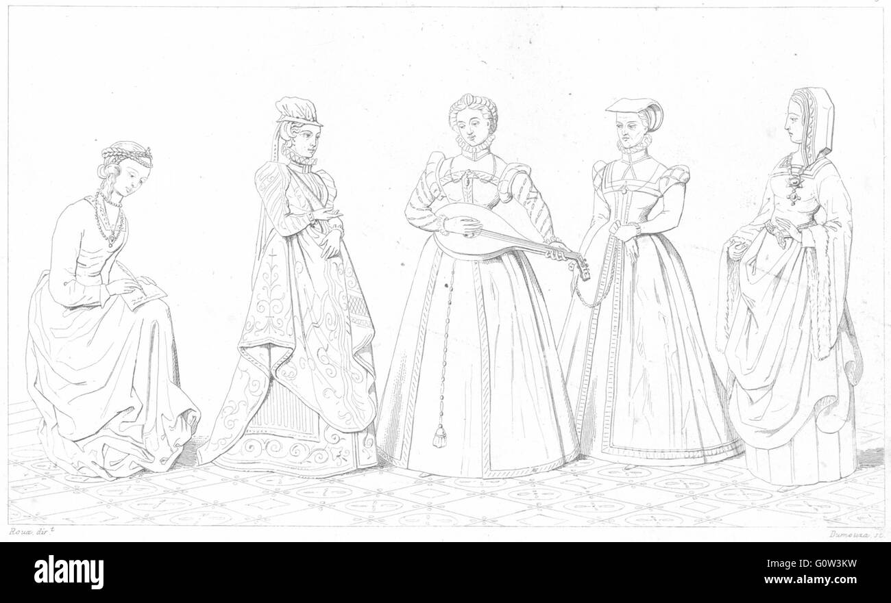 FRANCE: Costumes: Dame de Cour; Demoiselle(Regne Charles IX); Bourgeoise, 1875 - Stock Image