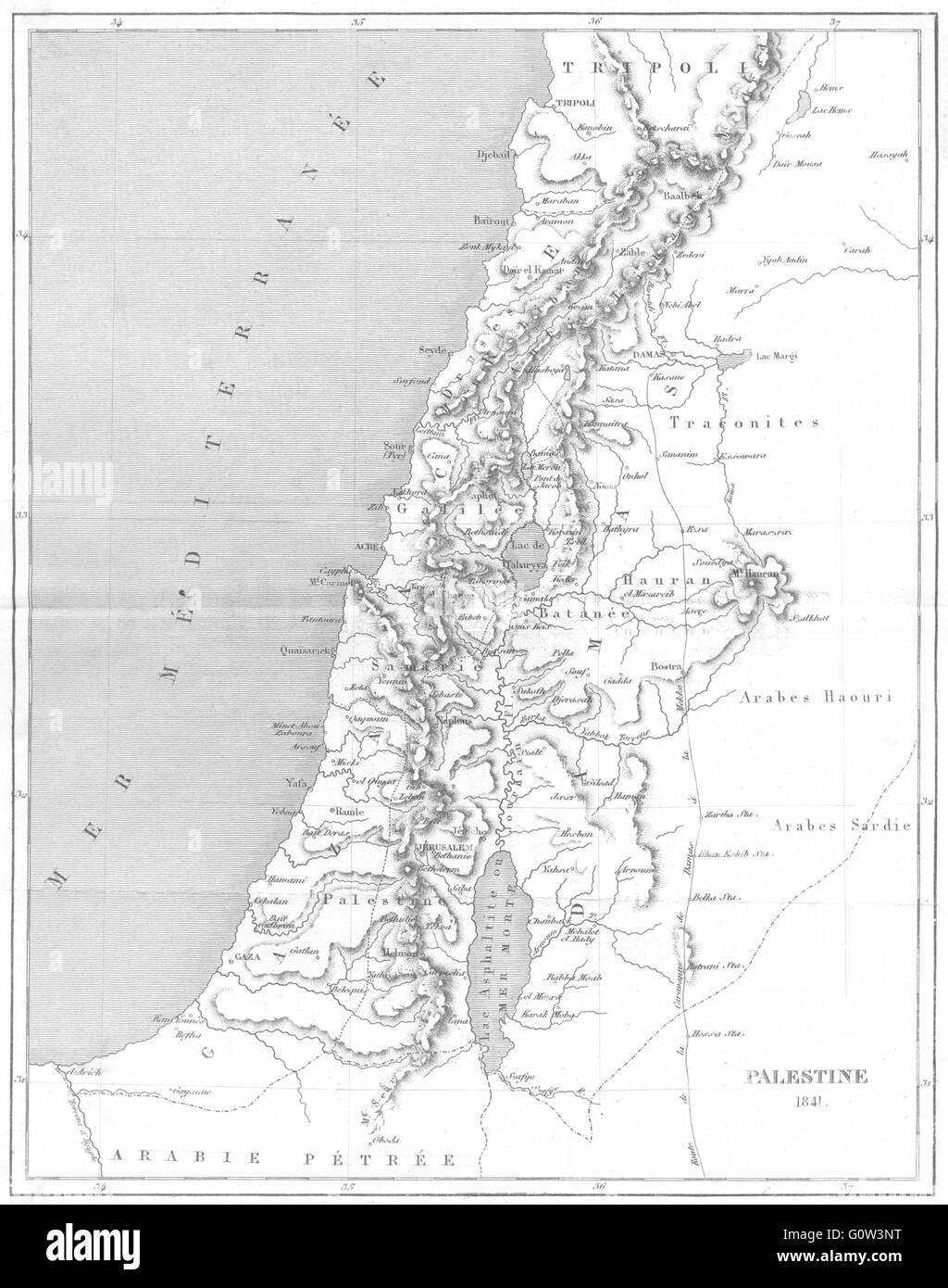 ISRAEL: Asie: Palestine 1841, 1875 antique map - Stock Image