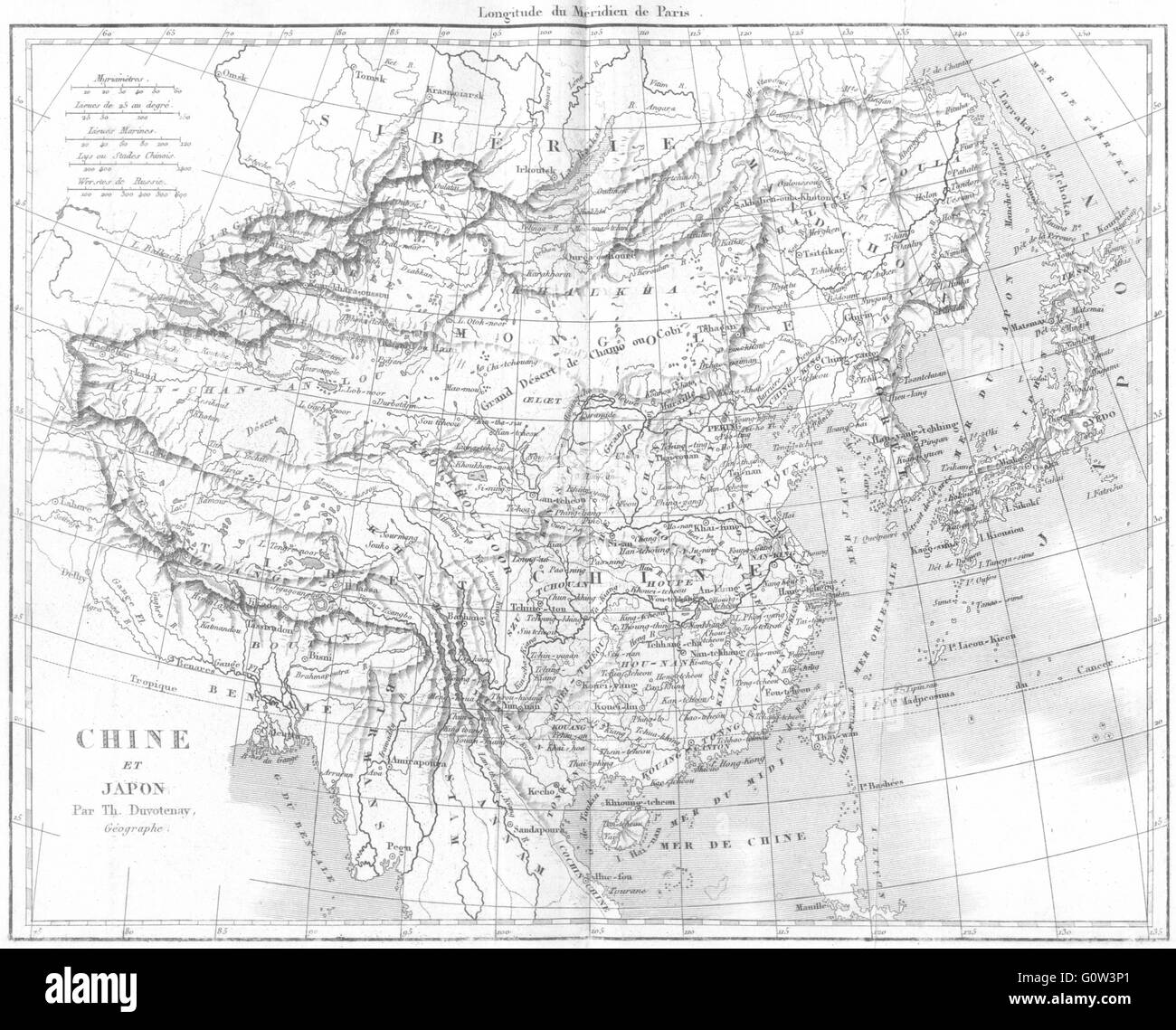 CHINA: Asie: Chine et Japon Japan, 1875 antique map - Stock Image