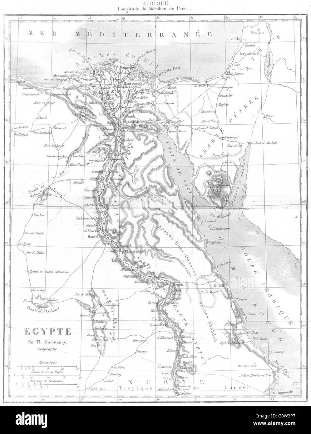 EGYPT: Afrique Africa: Egypte, 1875 antique map - Stock Image