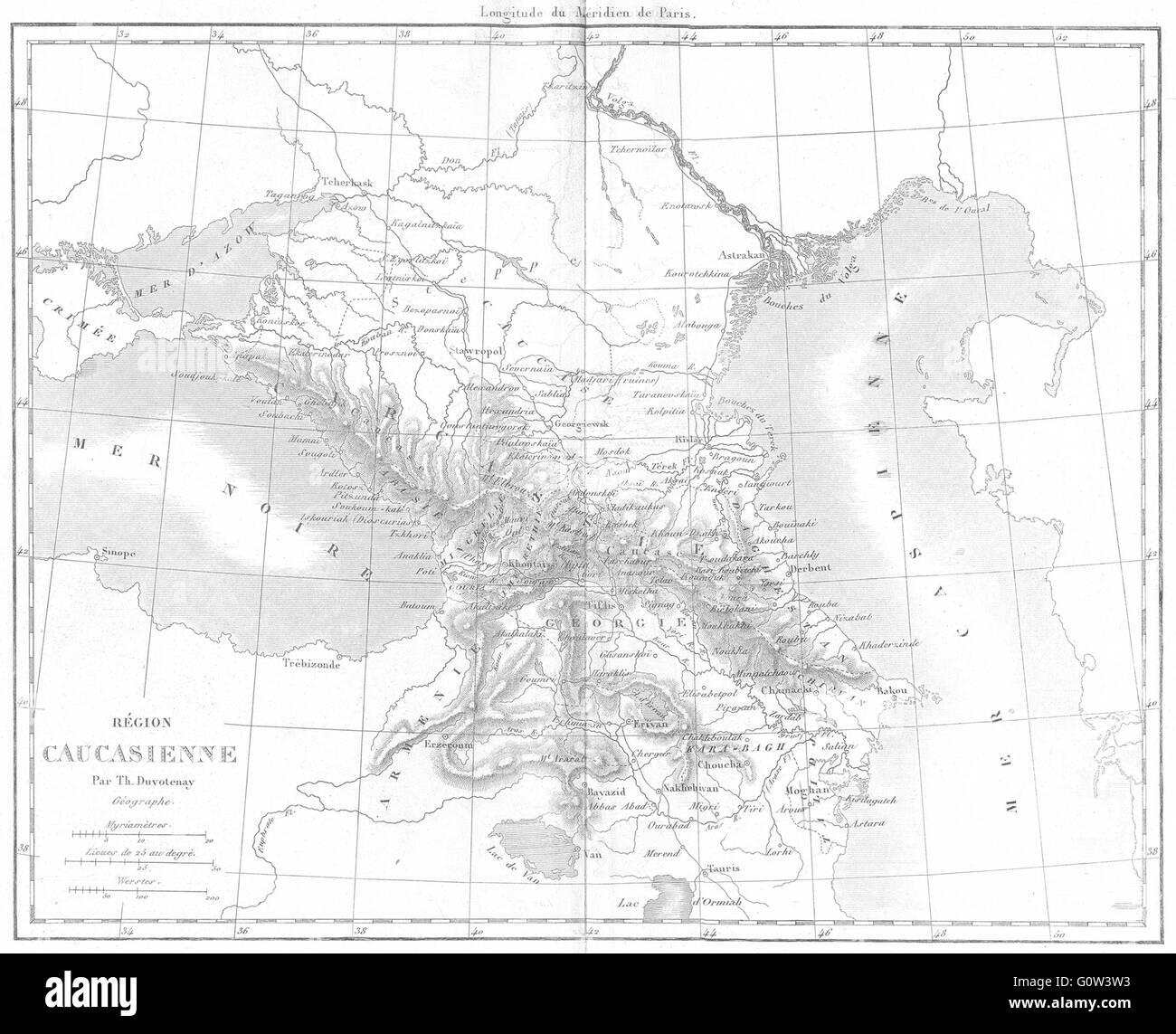 EURASIA: Region caucasienne(Caucasus)Caucasus, 1879 antique map Stock Photo