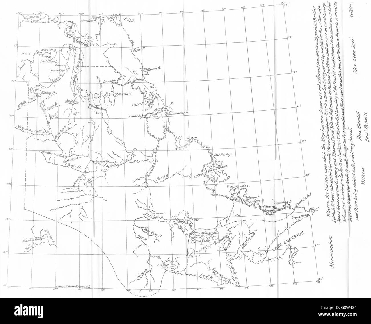 CANADA: Map Of The District Of Assiniboia, 1811, 1914   Stock Image