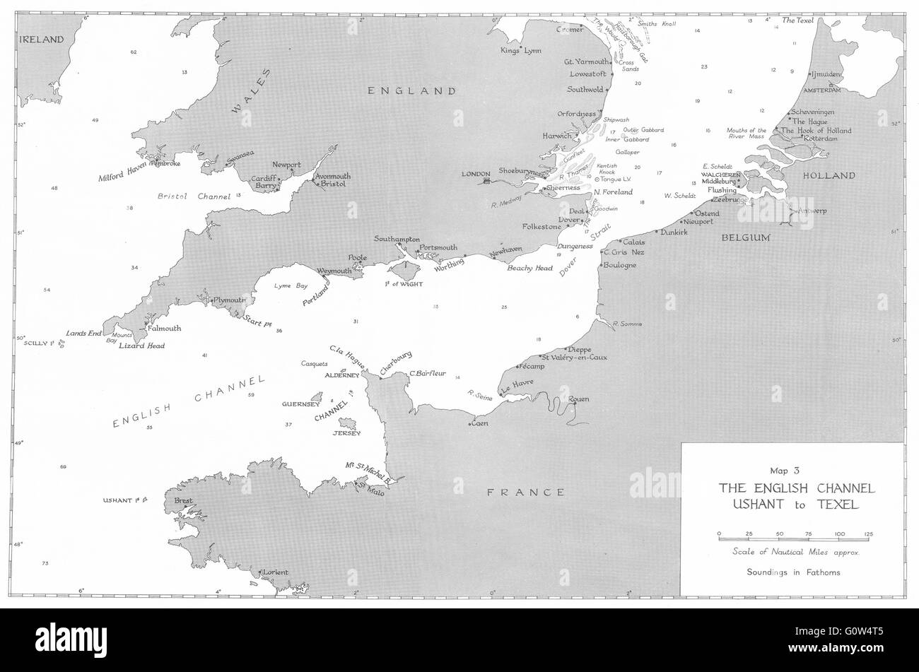 WW2: September-December, 1939: English Channel, Ushant to Texel, 1954 old map - Stock Image