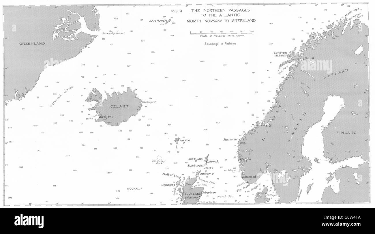 NAVAL WW2: Sept-Dec 1939: Northern Passages Atlantic, Norway Greenland, 1954 map - Stock Image