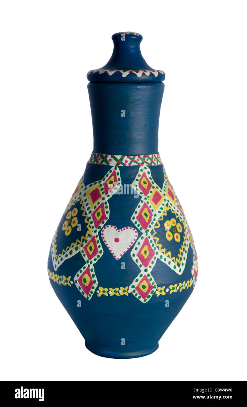 Egyptian decorated colorful pottery vessel (arabic: Kolla) - Stock Image