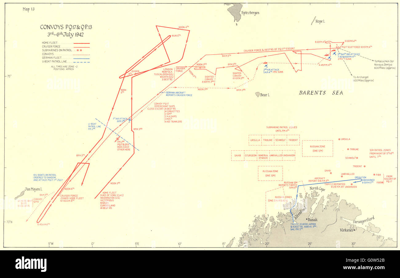 ARCTIC: Convoys PQ 17 & QP 13 3rd-6th July 1942, 1956 vintage map - Stock Image