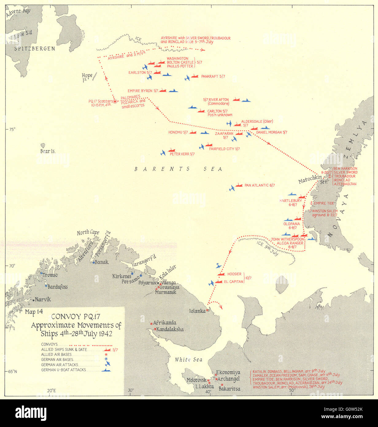 ARCTIC: Convoy PQ 17 movements of ships 4th-28th July 1942, 1956 vintage map - Stock Image