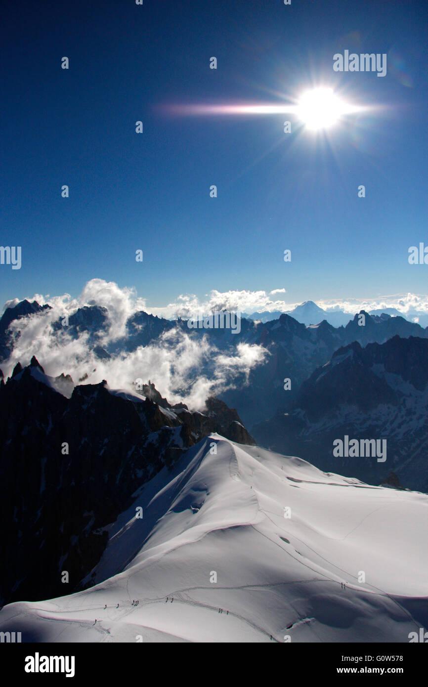 Impressionen: Mont Blanc Gebiet oberhalb der Auigulle du Midi. - Stock Image