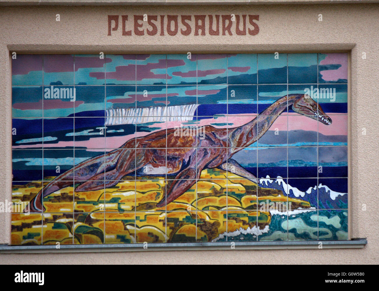 Darstellung eines Plesiosaurus, Berliner Zoo, Berlin. - Stock Image